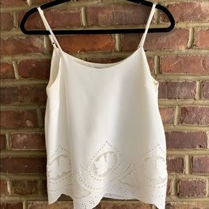 Tops - Size small white embroidered tank